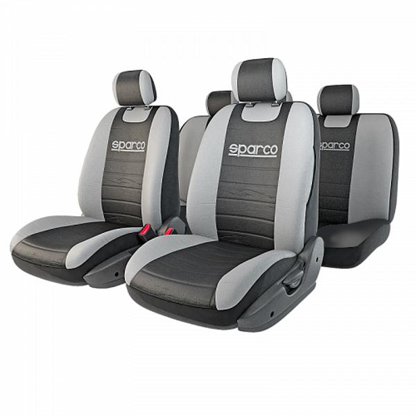 Чехлы автомобильные Sparco Classic, универсальные, цвет: черный, серый, 11 предметов, размер МSPC/CLS-1105 BK/GYАвтомобильные чехлы Sparco Classic сочетают практичность и стильный внешний вид. Они помогают сохранить салон в чистоте, препятствуют износу сидений и, помимо этого, заметно освежают интерьер автомобиля, придавая ему изысканные и динамичные штрихи. Спортивное происхождение чехлов также подчеркивает вышитый на спинках объемный логотип Sparco. Чехлы изготовлены из прочного полиэстера, триплированного 2-миллиметровым поролоном в центральной части. Окраска ткани обладает повышенной устойчивостью к выгоранию на солнце и механическому воздействию, поэтому чехлы можно стирать в машинке. Универсальный крой и распускаемые боковые швы позволяют использовать изделия на большинстве автокресел, в том числе оснащенных боковыми подушками безопасности. На сиденья чехлы крепятся при помощи пришитых резинок и входящих в комплект крючков. Комплектация: - 1 сиденье заднего ряда, - 1 спинка заднего ряда, - 2 сиденья переднего ряда, - 2 спинки переднего...