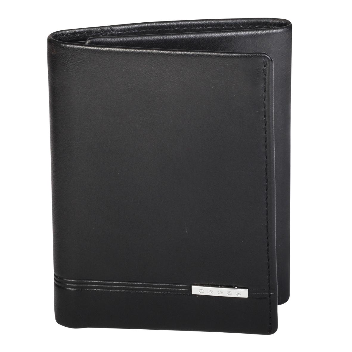 Кошелек мужской Cross, цвет: черный. AC018069-1AC018069-1Кошелек. Шесть отделений для кредитных карт.Одно отделение для банкнот. Один карман для документов с окошком. Четыре универсальных кармана.