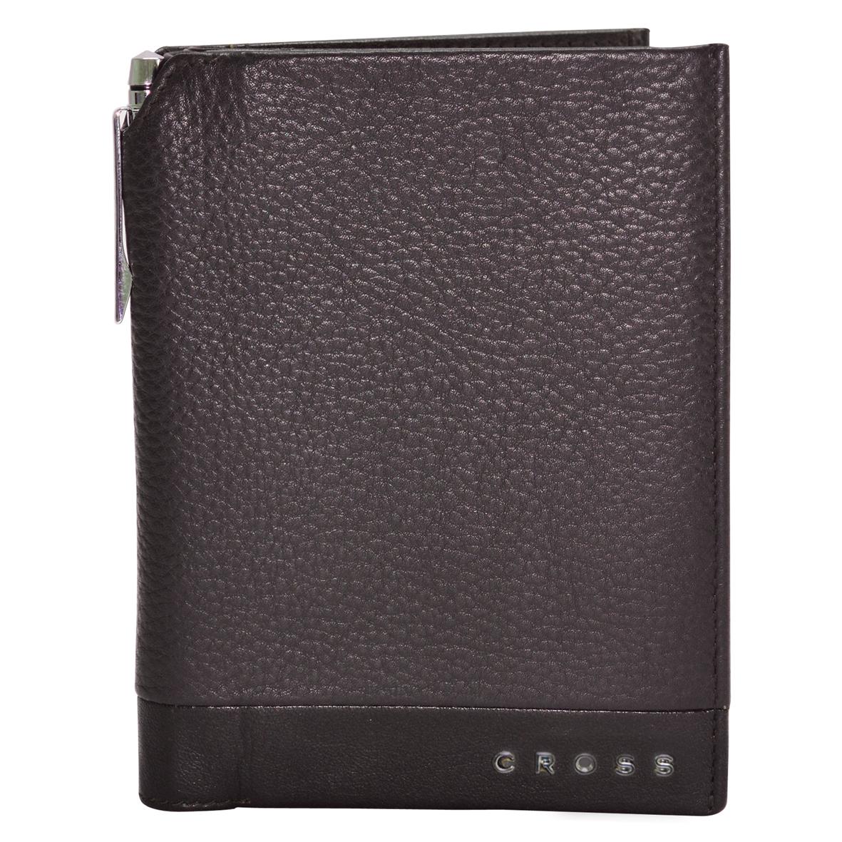 Обложка для документов мужская Cross, цвет: коричневый. AC028389-2AC028389-2Обложка для документов. Пять отделений для кредитных карт. Один карман-клапан. Универсальный карман. Ручка Cross.