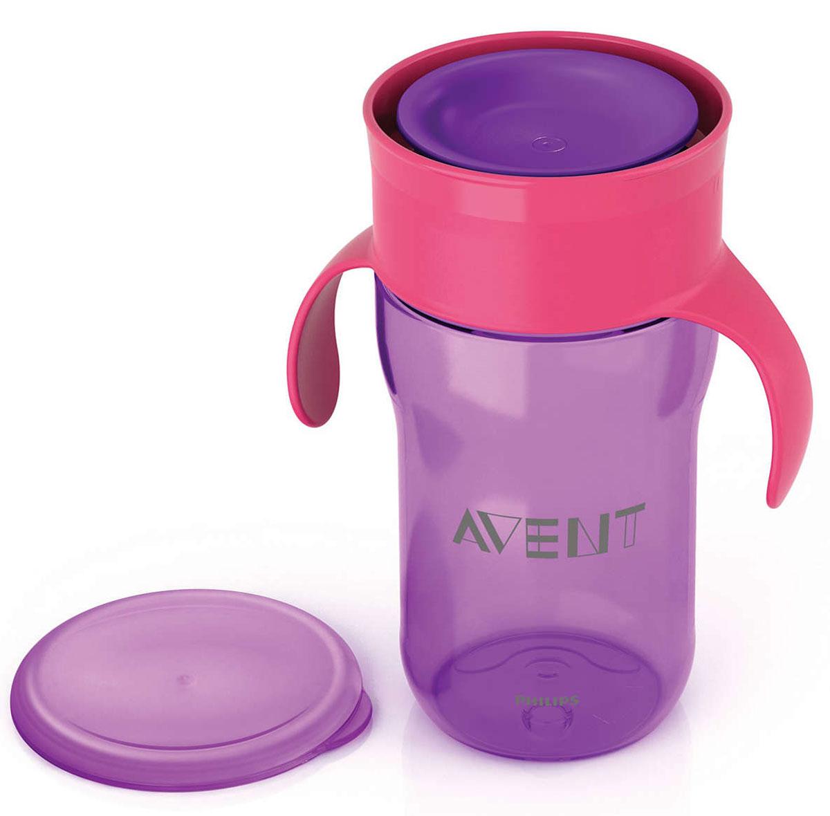 Philips Avent Взрослая чашка, 340 мл, 12м+, 1 шт фиолетовый SCF784/00SCF784/00Чашка-поильник Philips Avent выполнена из безопасного материала (не содержит бисфенол А) и оформлена забавными изображениями. С помощью этой чашки без носика и трубочки вы сможете легко научить ребенка пользоваться обычной чашкой: малыш может пить по всему краю, как из обычной чашки для взрослых. Уникальный инновационный клапан, который открывается от прикосновения губ и обеспечивает быстрый поток, разработан экспертами Philips Avent специально для того, чтобы научить вашего малыша пить из обычной чашки. Клапан с быстрым потоком позволяет малышу пить, не прилагая лишних усилий, не всасывая жидкость. Дома или на прогулке, защитная гигиеничная крышка всегда сохраняет чашку в чистоте. Обучающие ручки приучают малыша держать чашку и пить без посторонней помощи.