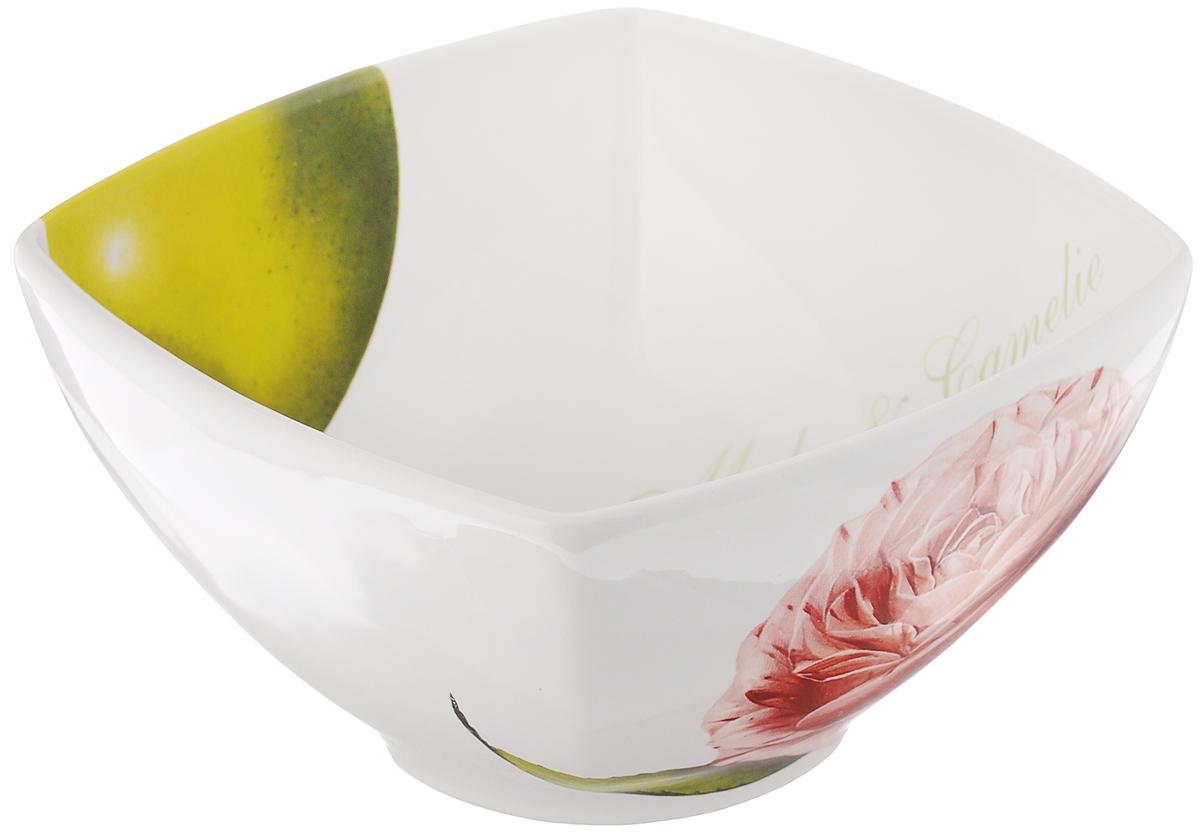 """Салатник Ceramiche Viva """"Яблоки и камелии"""", 14 х 14 см"""