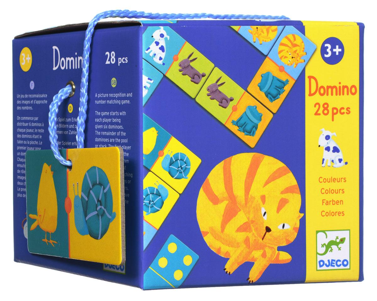 Djeco Домино Цветные животные08111Домино Djeco Цветные животные позволит вашему ребенку весело и с пользой провести время. Это любимая классическая игра для самых маленьких. Комплект содержит 28 картонных карточек с изображением симпатичных животных, а на обратной стороне - точки в количестве от 1 до 6. В ходе игры участники выкладывают карточки в цепочки, состыковывая их таким образом, чтобы картинка с одного конца карточки совпадала с картинкой на конце цепочки. Возможны два варианта игры: с картинками и с цифрами. Домино развивает внимание, зрительное восприятие, логические способности, учит находить одинаковые картинки и соединять их в цепочки. Ребенок познакомится с цифрами и счетом, расширит свой кругозор.