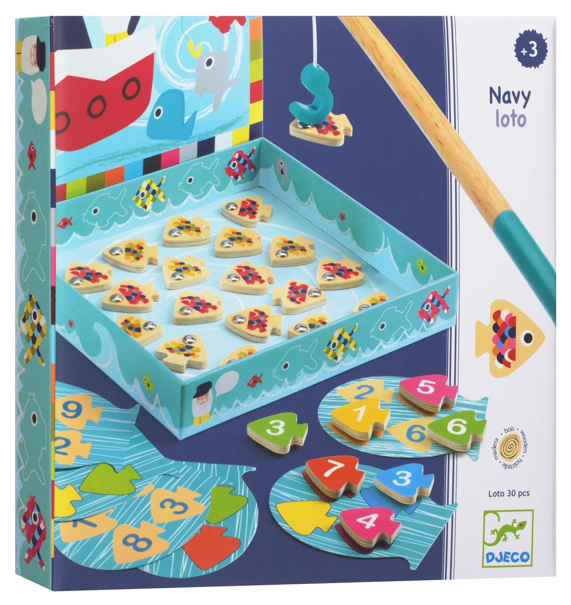 Djeco Магнитная игра Морское лото01688Магнитная игра Морское лото - новая версия знаменитой игры Рыбалка, которая дополнена и обучающими элементами. В наборе вы найдете 3 карточки с цифрами, а также деревянных рыбок на магнитах и удочки. Смысл игры состоит в том, чтобы по очереди доставать рыбок и располагать их на карточках согласно цифрам или цветам. Магнитная игра Морское лото прекрасно подойдет в качестве развлечения для любого детского праздника. Игра развивает логическое мышление, сообразительность и внимательность ребенка, учит его усидчивости и терпению.
