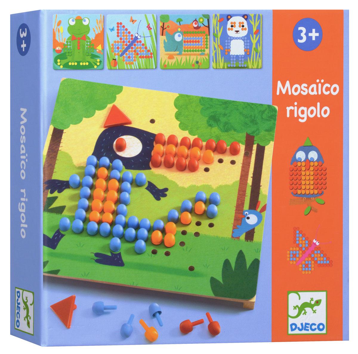 Djeco Мозаика Риголо08136Мозаика Риголо от французского производителя Djeco станет увлекательной развивающей игрушкой для каждого малыша. В комплекте ребенок найдет деревянную основу, красочные карточки с заданиями и множество пластиковых гвоздиков разной формы и цветов. Ребенок должен собрать картинку согласно инструкции, в результате чего у него получатся забавная лягушка, красивая бабочка, милая панда и другие животные и насекомые. Игра развивает мелкую моторику, логическое мышление, сообразительность и внимательность ребенка, учит его усидчивости и терпению.
