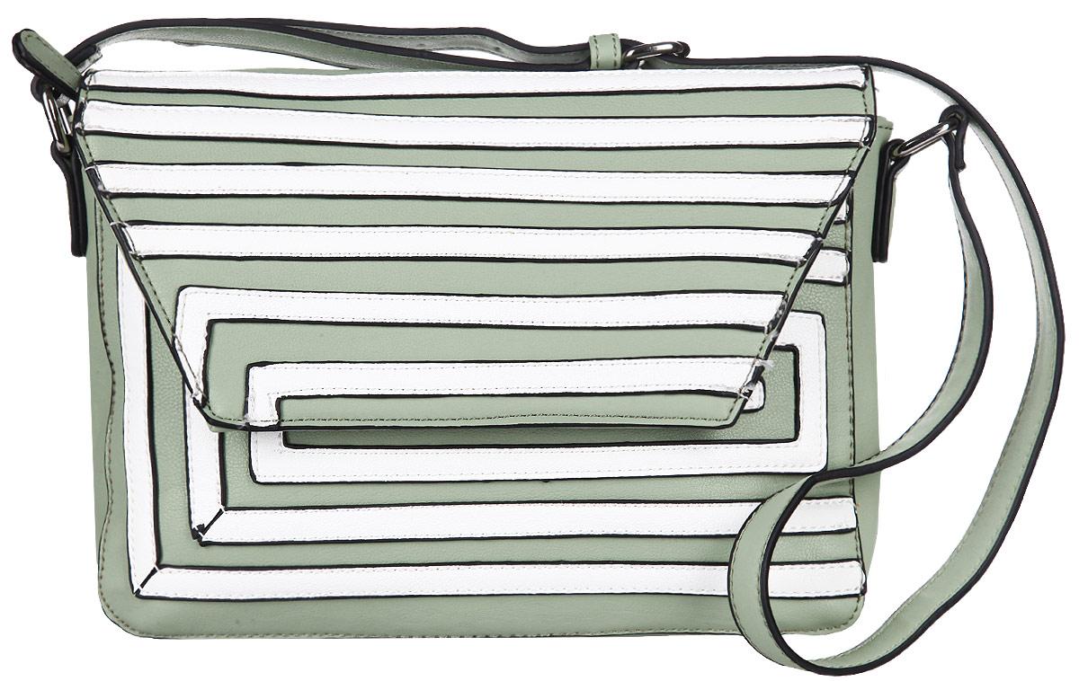 Сумка женская Orsa Oro, цвет: фисташковый, белый. D-817/91D-817/91Стильная женская сумка Orsa Oro выполнена из искусственной кожи, оформлена металлической фурнитурой и полосками из кожи контрастного оттенка. Изделие содержит одно основное отделение, которое закрывается клапаном на магнитную кнопку и дополнительно на застежку-молнию. Внутри расположены два накладных кармашка для мелочей и врезной карман на молнии. Задняя сторона изделия дополнена врезным карманом на молнии. Сумка оснащена практичным плечевым ремнем регулируемой длины. Оригинальный аксессуар позволит вам завершить образ и быть неотразимой.