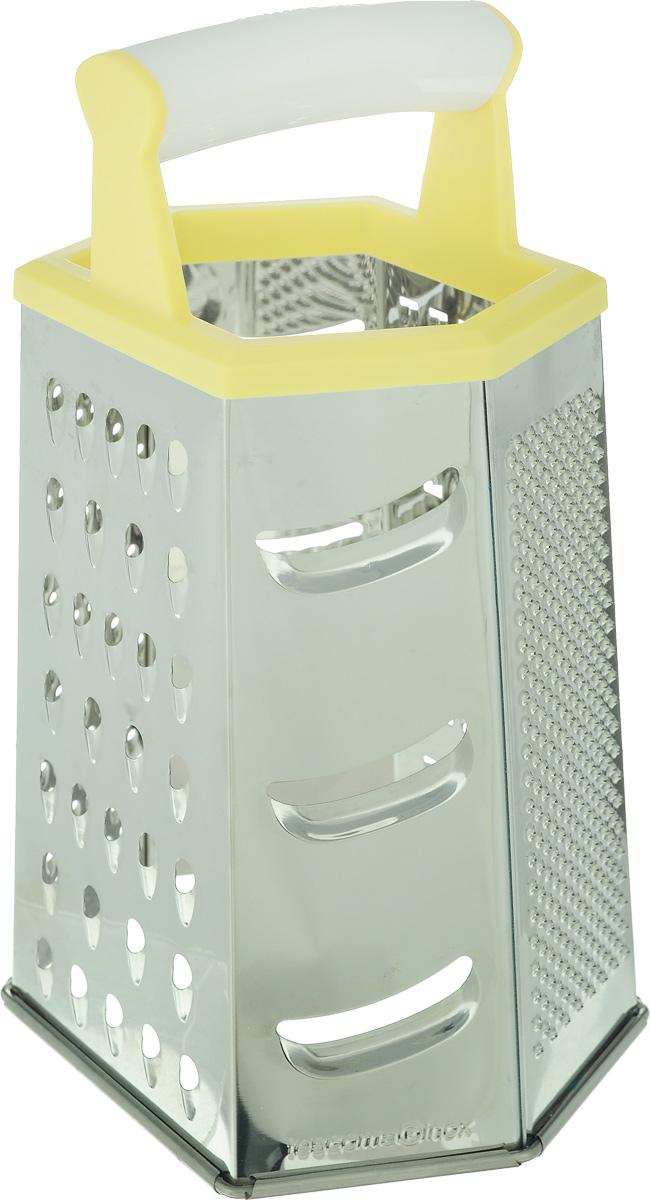Терка шестигранная Tescoma Handy, цвет: желтый, стальной, высота 22 см643784_ желтыйШестигранная терка Tescoma Handy, выполненная из высококачественной нержавеющей стали с зеркальной полировкой, станет незаменимым атрибутом приготовления пищи. Сверху на терке расположена удобная пластиковая ручка. Терка замечательна для простого и быстрого измельчения и нарезки продуктов на ломтики. На одном изделии представлены шесть видов терок - крупная, мелкая, терка для овощных пюре, фигурная, шинковка и шинковка фигурная. Современный стильный дизайн позволит терке занять достойное место на вашей кухне. Можно мыть в посудомоечной машине.