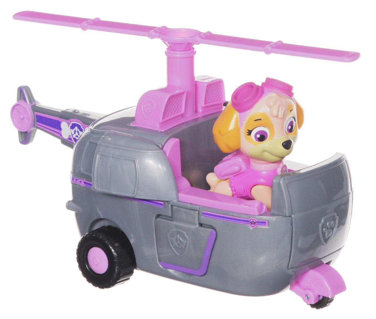 Paw Patrol Игровой набор Вертолет спасателей и щенок Скай16601 SkyesИгровой набор Paw Patrol Вертолет спасателей и щенок Скай станет отличным подарком маленьким поклонникам знаменитого мультсериала. В набор входят фигурка Скай - грациозная девочка-щенок породы американский кокер-спаниель, выполняющая функции авиатора-спасателя, и ее вертолет. Вертолет серо-розового цвета, у него открываются закрылки, крутятся колесики и винт. Фигурку Скай можно поместить в кабину вертолета и катать. У собачки подвижные лапы и голова. Ваш малыш будет часами играть с этим набором, придумывая разные истории. Сделайте ему такой замечательный подарок! Щенячий патруль - канадский анимационный мультфильм, созданный Кит Чэпман. Первая серия мультфильма была показана в августе 2013 года. Игровой набор способствует развитию ребенка и надолго займет вашего малыша интересной игрой.
