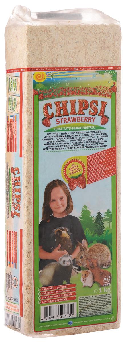 """Наполнитель для грызунов Chipsi """"Strawberry"""", древесный, 1 кг"""