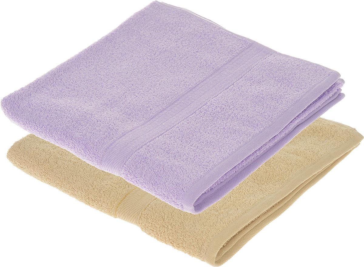 Набор махровых полотенец Aisha Home Textile, цвет: бежевый, сиреневый, 70 х 140 см, 2 штУзТ-ПМ-104-03-05Набор Aisha Home Textile состоит из двух махровых полотенец, выполненных из натурального 100% хлопка. Изделия отлично впитывают влагу, быстро сохнут, сохраняют яркость цвета и не теряют формы даже после многократных стирок. Полотенца Aisha Home Textile очень практичны и неприхотливы в уходе. Комплектация: 2 шт.