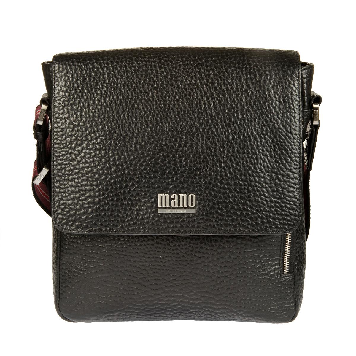 Сумка-планшет мужская Mano, цвет: черный. 1950119501 blackПрактичная мужская сумка-планшет Mano выполнена из натуральной кожи с зернистой фактурой, оформлена металлической фурнитурой с символикой бренда. Сумка содержит одно отделение, закрывающееся на застежку-молнию и дополнительно клапаном на магнитную кнопку. Внутри изделия расположены: открытый накладной карман для телефона, врезной карман на застежке-молнии и три фиксатора для авторучек. На лицевой стороне изделия, под клапаном, расположен врезной карман на застежке-молнии. Задняя сторона сумки дополнена накладным карманом на магнитной кнопке. Сумка оснащена удобным плечевым ремнем, длина которого регулируется при помощи пряжки. Стильный и практичный аксессуар отлично завершит образ и подчеркнет ваш безупречный вкус.