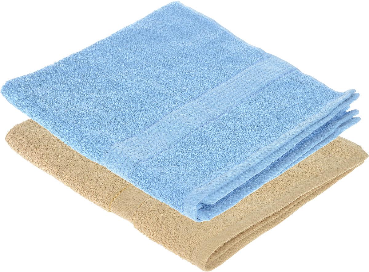 Набор махровых полотенец Aisha Home Textile, цвет: бежевый, голубой, 70 х 140 см, 2 штУзТ-ПМ-104-03-06Набор Aisha Home Textile состоит из двух махровых полотенец, выполненных из натурального 100% хлопка. Изделия отлично впитывают влагу, быстро сохнут, сохраняют яркость цвета и не теряют формы даже после многократных стирок. Полотенца Aisha Home Textile очень практичны и неприхотливы в уходе. Комплектация: 2 шт.