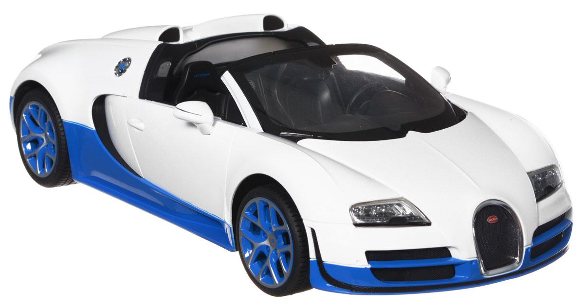 Rastar Радиоуправляемая модель Bugatti Veyron 16.4 Grand Sport Vitesse цвет белый70400_белыйРадиоуправляемая модель Rastar Bugatti Veyron 16.4 Grand Sport Vitesse станет отличным подарком любому мальчику! Все дети хотят иметь в наборе своих игрушек ослепительные, невероятные и крутые автомобили на радиоуправлении. Тем более, если это автомобиль известной марки с проработкой всех деталей, удивляющий приятным качеством и видом. Одной из таких моделей является автомобиль на радиоуправлении Rastar Bugatti Veyron 16.4 Grand Sport Vitesse. Это точная копия настоящего авто в масштабе 1:14. Авто обладает неповторимым провокационным стилем и спортивным характером. Потрясающая маневренность, динамика и покладистость - отличительные качества этой модели. Возможные движения: вперед, назад, вправо, влево, остановка. Имеются световые эффекты. Для работы игрушки необходимы 5 батареек типа АА (не входят в комплект). Для работы пульта управления необходима 1 батарейка 9V (6F22) (не входит в комплект).
