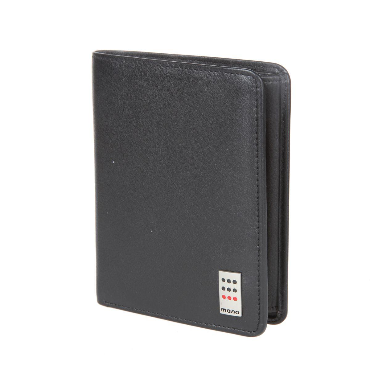 Портмоне мужское Mano, цвет: черный. 1550615506 blackСтильное мужское портмоне Mano изготовлено из натуральной кожи, оформлено металлической пластиной с символикой бренда. Изделие раскладывается пополам. Внутри портмоне расположены два отделения для купюр, два потайных кармана, отделение для монет, закрывающееся клапаном на кнопку, карман для мелких документов и три прорезных кармашка для пластиковых карт, один из которых с сетчатой вставкой. Портмоне дополнено откидным отделением, которое фиксируется хлястиком на кнопку и включает в себя: сетчатый карман, три прорезных кармашка для пластиковых карт и карман для мелких документов. Изделие поставляется в фирменной упаковке. Такое практичное портмоне станет отличным подарком для человека, ценящего качественные и необычные вещи.