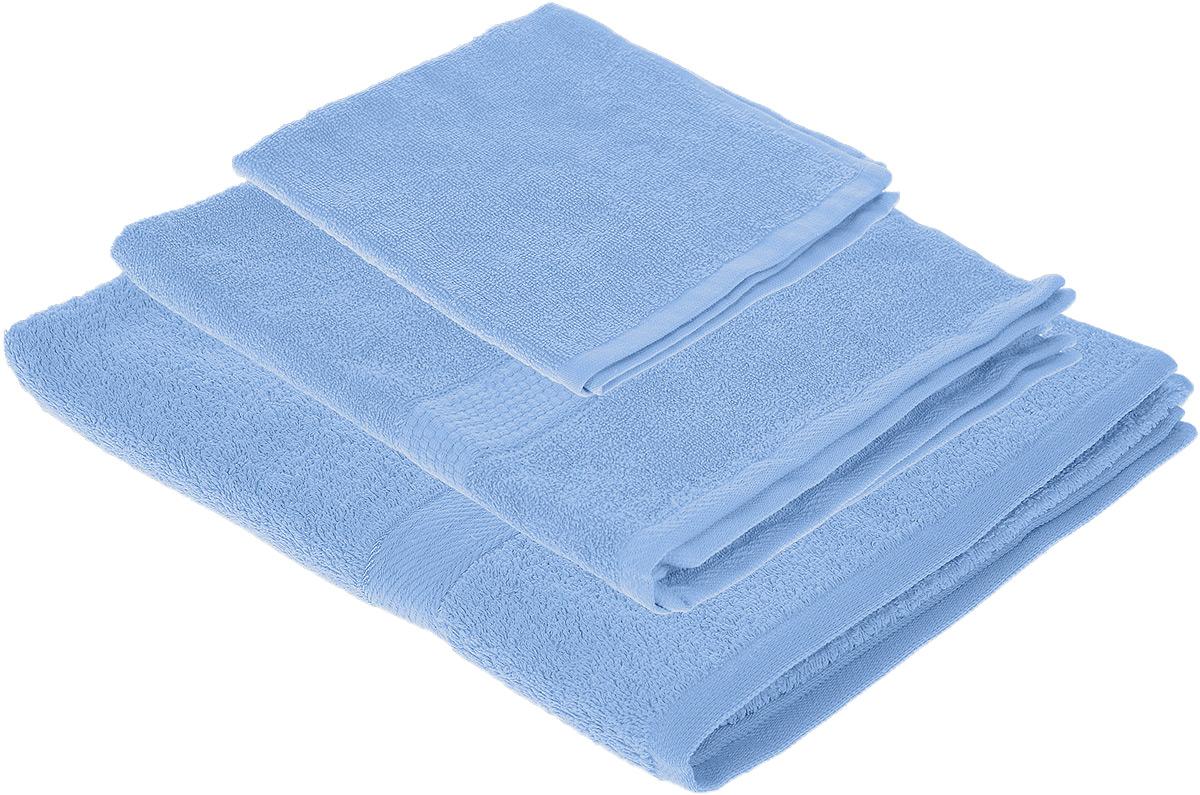 Набор махровых полотенец Aisha Home Textile, цвет: голубой, 3 шт. УзТ-НПБ-101-21УзТ-НПБ-101-21Набор Aisha Home Textile состоит из трех махровых полотенец разного размера. В состав входит только натуральное волокно - 100% хлопок. Лаконичные бордюры подойдут для любого интерьера ванной комнаты. Полотенца прекрасно впитывают влагу и быстро сохнут. При соблюдении рекомендаций по уходу не линяют и не теряют форму даже после многократных стирок. Комплектация: 3 шт.
