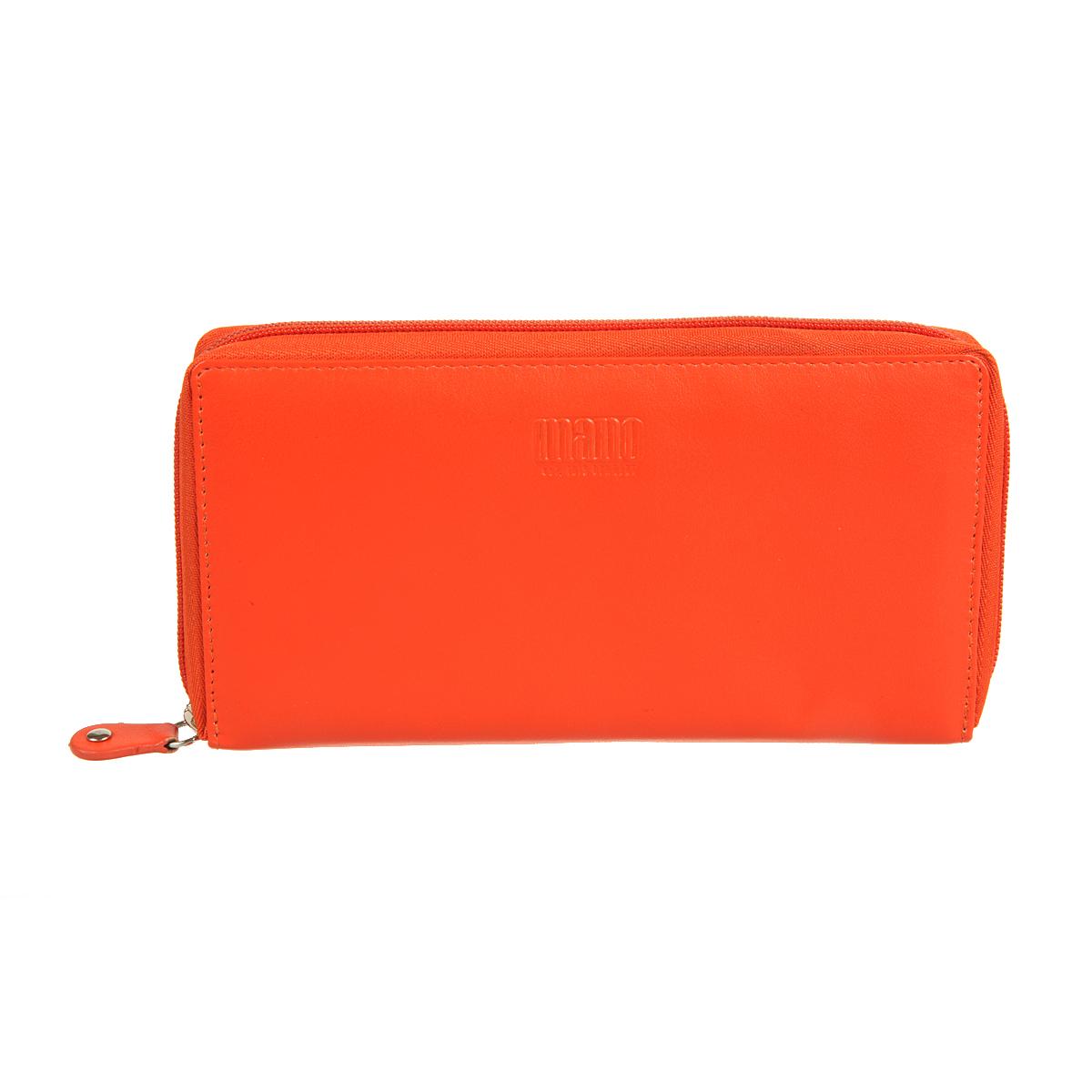 Портмоне женское Mano, цвет: оранжевый. 14659 orange14659 orangeзакрывается по периметру на молнию внутри четыре отдела для купюр карман для мелочи на молнии восемь кармашков для пластиковых карт два кармана для документов