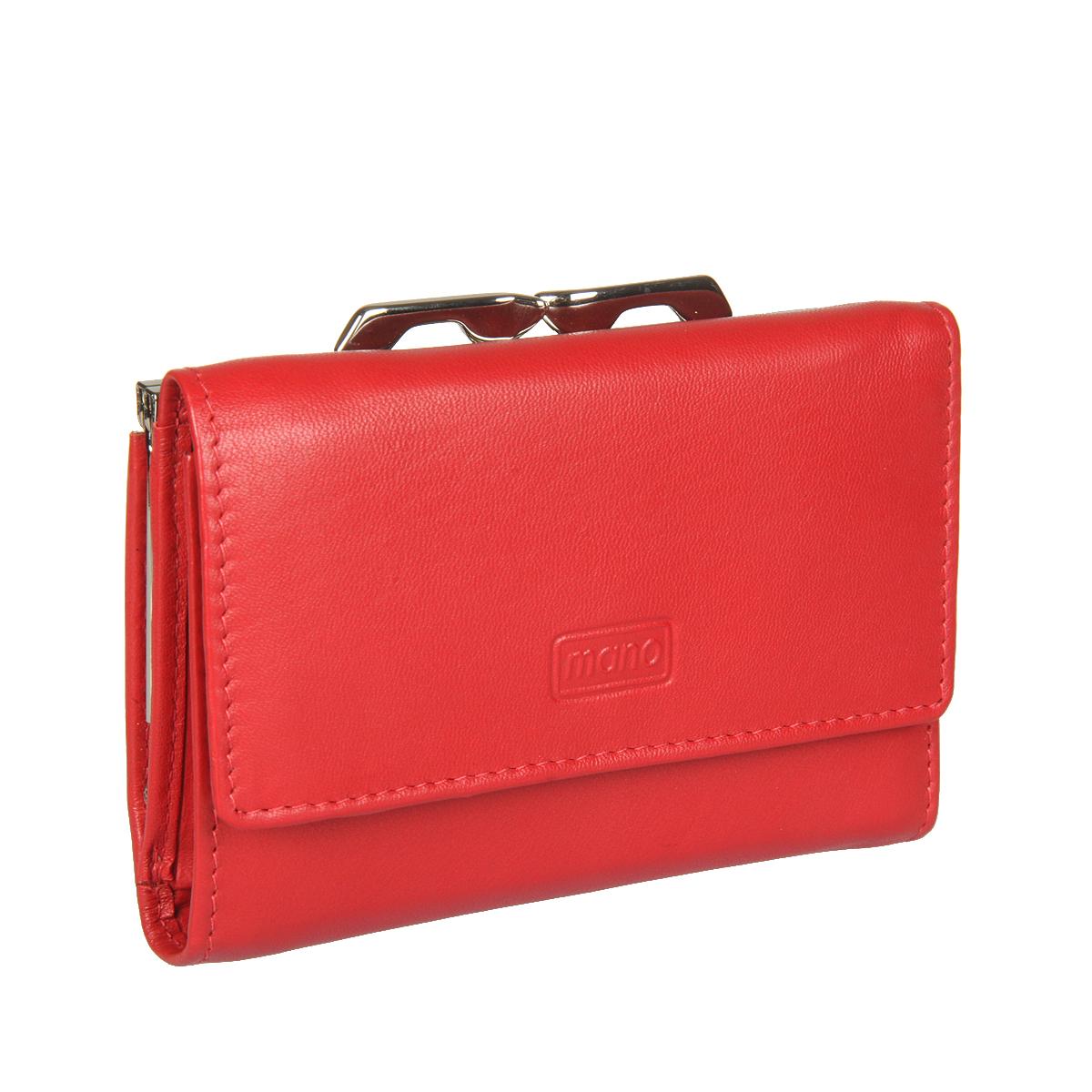 Кошелек женский Mano, цвет: красный. 13423 red13423 redзакрывается клапаном на кнопке внутри два отделения для купюр два потайных кармашка четыре кармана для пластиковых карт снаружи отделение для мелочи на рамочном замке