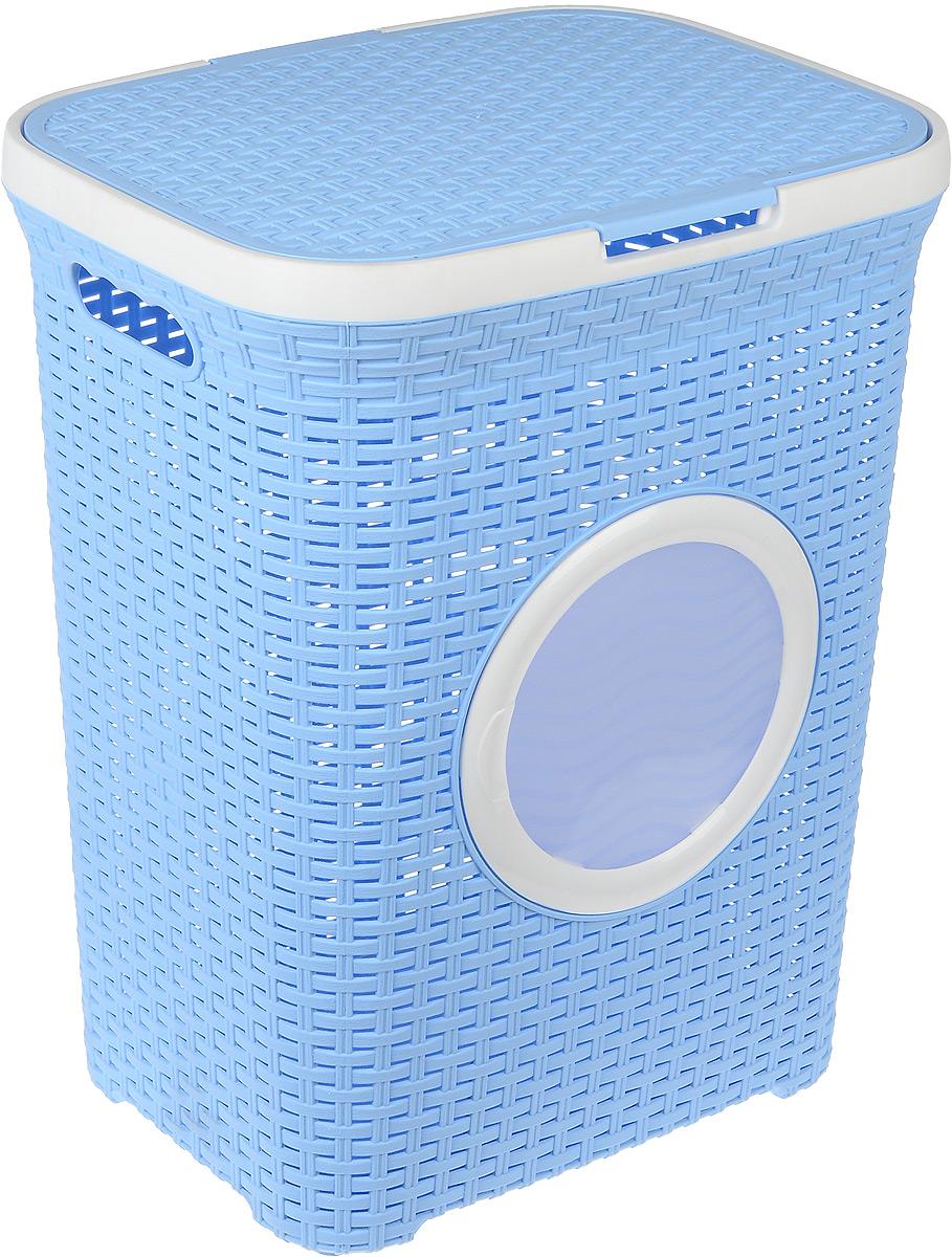 Корзина для белья Violet, с крышкой, цвет: белый, голубой, 60 л1861/3_белый, голубойВместительная корзина для белья Violet  изготовлена из прочного цветного пластика и декорирована отверстием в виде иллюминатора. Она отлично подойдет для хранения белья перед стиркой. Специальные отверстия на стенках создают идеальные условия для проветривания. Изделие оснащено крышкой и двумя эргономичными ручками для переноски. Такая корзина для белья прекрасно впишется в интерьер ванной комнаты.