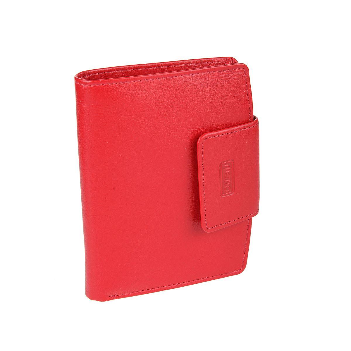 Кошелек женский Mano, цвет: красный. 13411 red13411 redзакрывается клапаном на кнопку внутри два отдела для купюр шесть кармашков для пластиковых карт четыре потайных кармана два отдела для мелких предметов отделение для пропуска в сеточку отделение для мелочи (закрывается клапаном на кнопку)