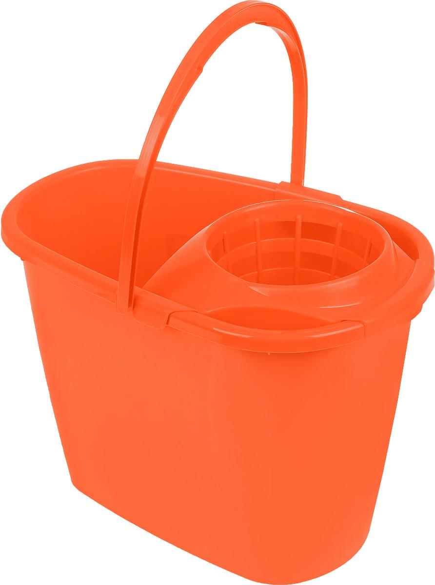 Ведро для уборки Centi, с насадкой для отжима швабры, цвет: оранжевый, 8 л7008_оранжевыйВедро Centi, изготовленное из прочного пластика, порадует практичных хозяек. Изделие снабжено специальной насадкой, которая обеспечивает интенсивный отжим ленточных швабр. Это значительно уменьшает физические нагрузки при мытье полов. Насадка надежно крепится на ведро и также легко снимается, позволяя хранить ее отдельно. Для удобного использования ведро оснащено эргономичной ручкой. Размер ведра (по верхнему краю): 32,5 х 21 см. Высота: 24 см.