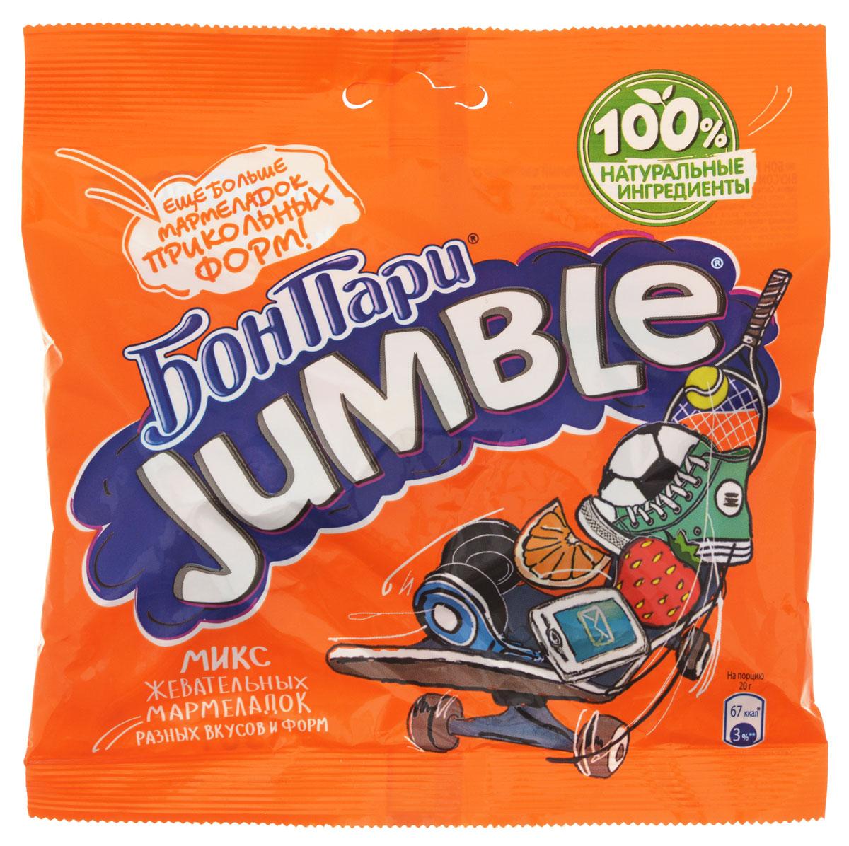"""Микс жевательного фигурного мармелада Бон Пари """"Jumble"""" со вкусом фруктов. Более 60 разнообразных форм. Для изготовления мармелада Бон Пари используются только природные красители, полученные из натуральных компонентов. Продукт может содержать орехи, глютен, молоко и диоксид серы."""