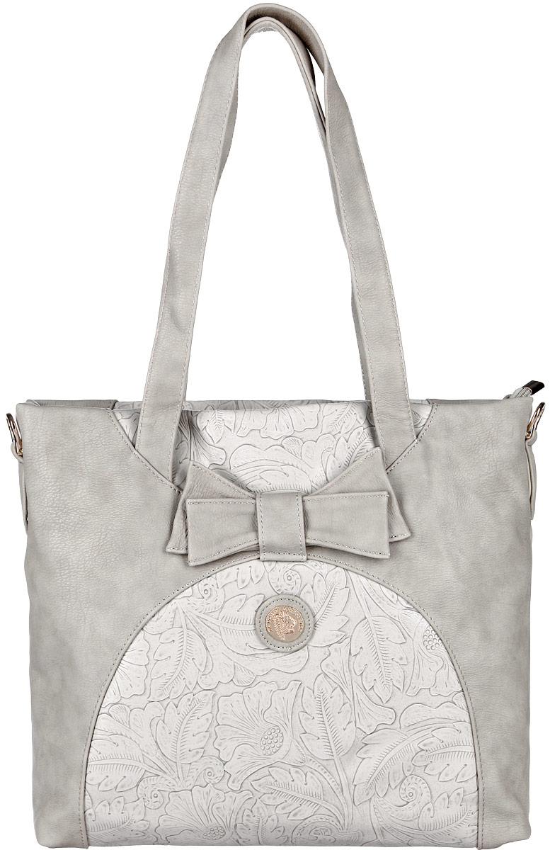 Сумка женская Orsa Oro, цвет: серый. DK-374/2DK-374/2Стильная женская сумка Orsa Oro выполнена из искусственной кожи, оформлена фактурным тиснением, декоративным элементом в виде бантика и металлической пластиной с логотипом производителя. Изделие содержит одно основное отделение, которое закрывается на застежку-молнию. Внутри расположены два накладных кармашка для мелочей и врезной карман на молнии. Задняя сторона изделия дополнена врезным карманом на молнии. Сумка оснащена съемным плечевым ремнем регулируемой длины и практичными ручками. Оригинальный аксессуар позволит вам завершить образ и быть неотразимой.
