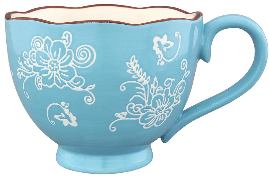 Кружка Elan Gallery Цветочная симфония, цвет: молочный, голубой, 450 мл830133Оригинальная кружка Elan Gallery Цветочная симфония изготовлена из высококачественной керамики. Она украсит сервировку любого стола и подчеркнет прекрасный вкус хозяина. Не использовать в микроволновой печи. Диаметр кружки (по верхнему краю): 11,5 см. Высота стенок кружки: 9,5 см.