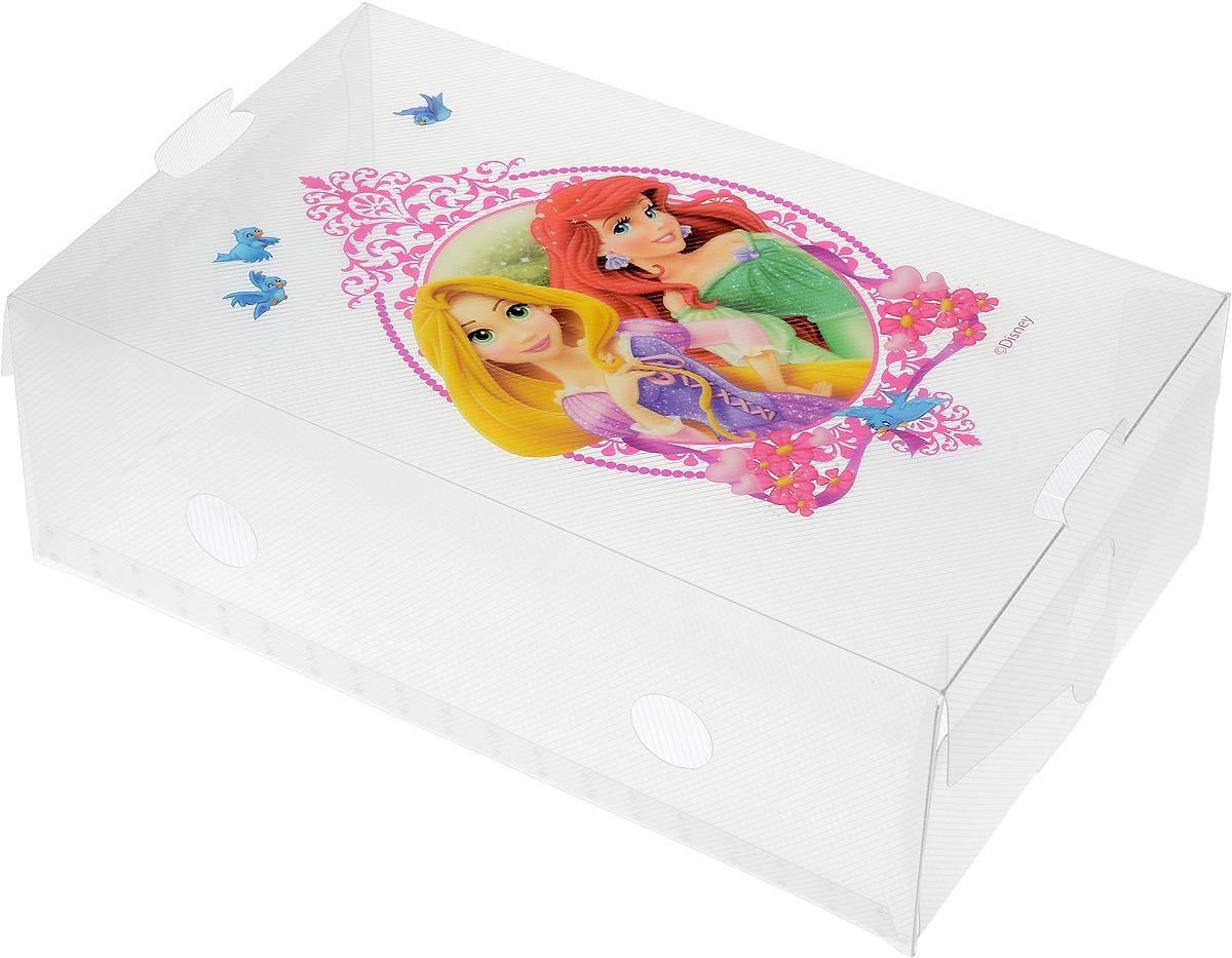 Коробка для хранения обуви Disney Принцессы, 30 х 18 х 10 см64911Коробка Disney Принцессы изготовлена из высококачественного прозрачного полипропилена. Она специально предназначена для хранения обуви. Изделие легко собирается и не занимает много места. С помощью боковой крышки можно доставать обувь, не снимая коробку с полки. Коробка для хранения Disney Принцессы- идеальное решение для аккуратного хранения вашей обуви в межсезонье. Размер коробки (в собранном виде): 30 х 18 х 10 см.