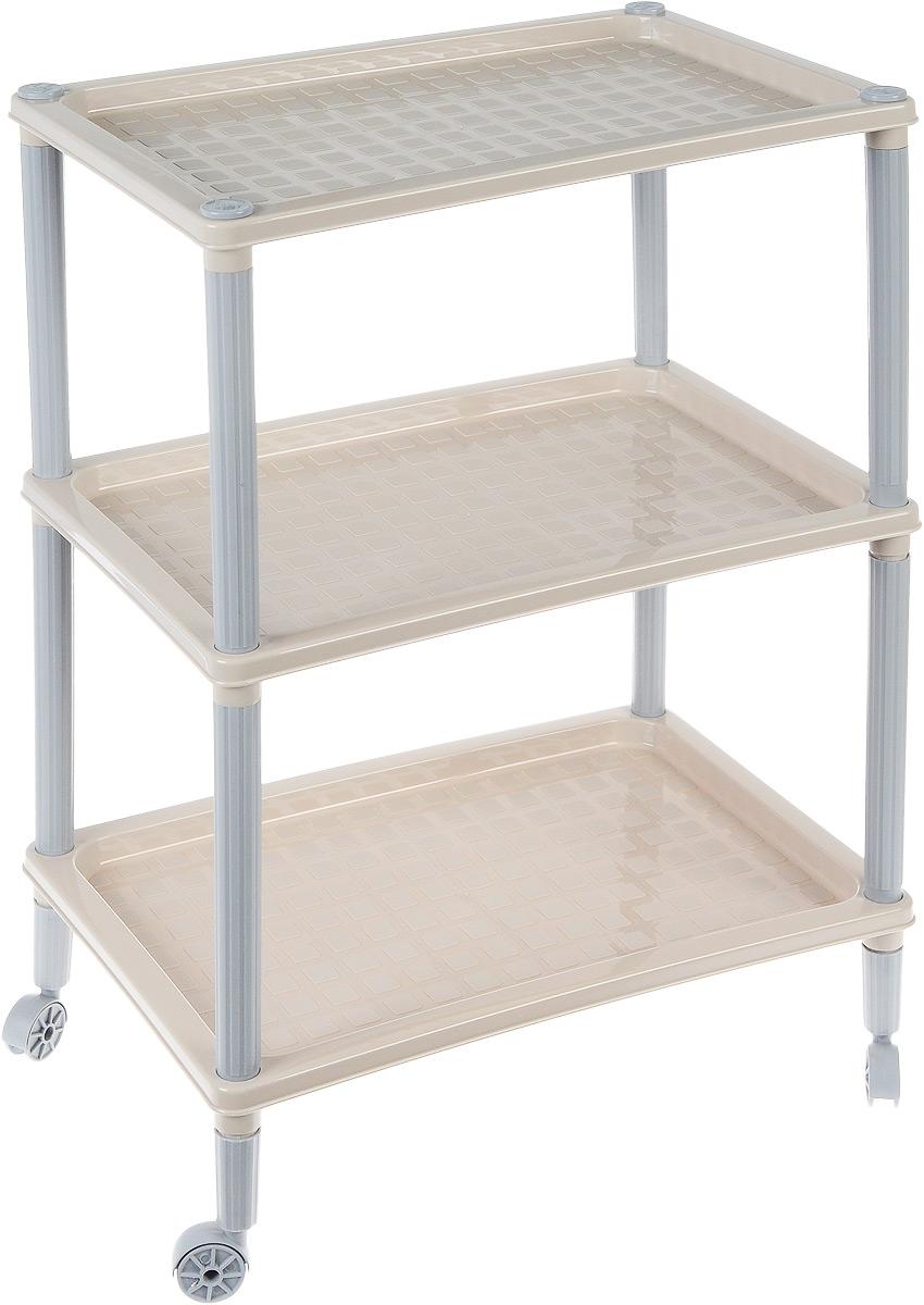 Этажерка Бытпласт Флавия, 3-х секционная, на колесиках, цвет: серый, 42 х 29 х 61 смС12410_ серыйЭтажерка Бытпласт Флавия выполнена из высококачественного прочного пластика и предназначена для хранения различных предметов. Изделие имеет 3 полки прямоугольной формы. В ванной комнате вы можете использовать этажерку для хранения шампуней, гелей, жидкого мыла, стиральных порошков, полотенец и многого другого. Ручной инструмент и детали в вашем гараже всегда будут под рукой. Удобно ставить банки с краской, бутылки с растворителем. В гостиной этажерка позволит удобно хранить под рукой книги, журналы, газеты. С помощью этажерки также легко навести порядок в детской, она позволит удобно и компактно хранить игрушки, письменные принадлежности и учебники. Этажерка - это идеальное решение для любого помещения. Она поможет поддерживать чистоту, компактно организовать пространство и хранить вещи в порядке, а стильный дизайн сделает этажерку ярким украшением интерьера. Размер этажерки (ДхШхВ): 42 х 29 х 61 см. Размер полки...