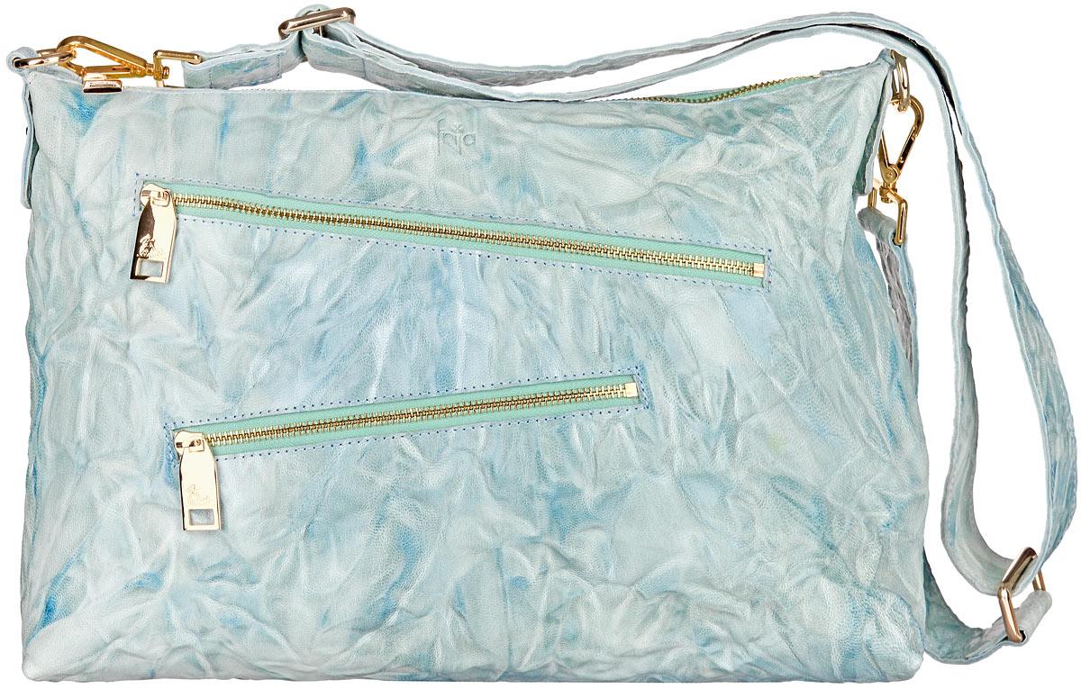 Сумка женская Frija, цвет: голубой. 21-0304-1521-0304-15Стильная женская сумка Frija изготовлена из натуральной кожи. Изделие содержит одно отделение, закрывающееся на застежку-молнию. Внутри расположен прорезной карман на застежке-молнии и два накладных открытых кармана для телефона и мелочей. Снаружи, на передней стенке расположены два прорезных кармана на застежках-молниях. На задней стенке предусмотрен дополнительный прорезной карман на застежке-молнии. Сумка оснащена съемным плечевым ремнем, который регулируется по длине. В комплект входит текстильный фирменный чехол для хранения. Такая сумка прекрасно завершит ваш образ.