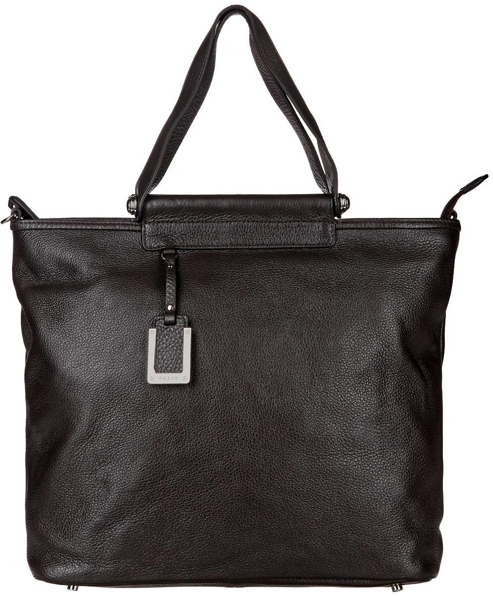 Сумка женская Palio, цвет: темно-коричневый. 12857A12857AСтильная сумка Palio изготовлена из натуральной кожи с зернистой фактурой, оформлена декоративной подвеской. Изделие содержит одно основное отделение, закрывающееся застежку-молнию. Внутри расположены два накладных кармашка для мелочей, врезной карман на молнии и карман-средник на молнии. Задняя сторона сумки дополнена врезным карманом на молнии. Изделие оснащено двумя практичными ручками и съемным плечевым ремнем регулируемой длины. Дно изделия дополнено металлическими ножками. Оригинальный аксессуар позволит вам завершить образ и быть неотразимой.