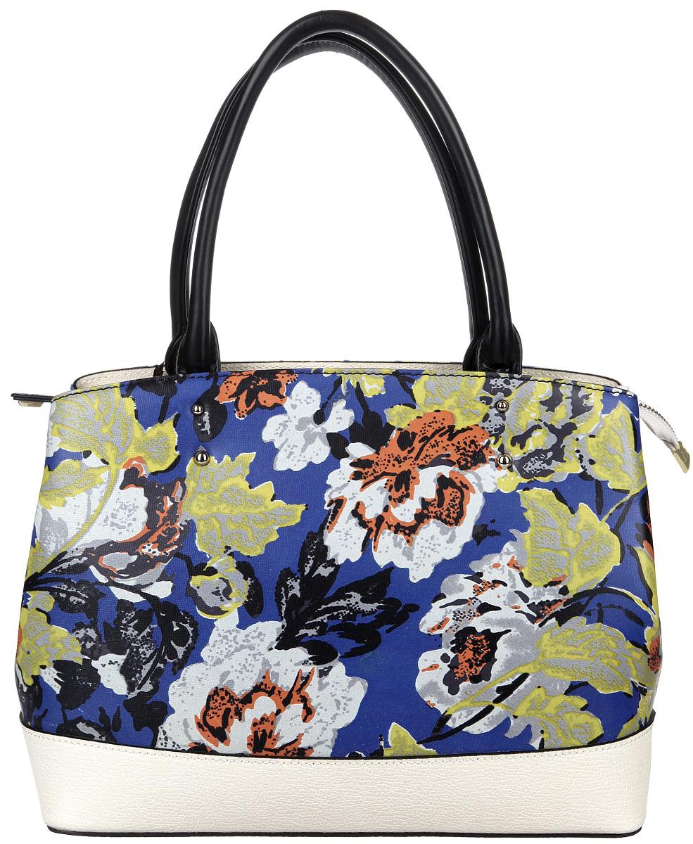 Сумка женская Eleganzza, цвет: белый, мультицвет. Z321-7563MZ321-7563MСтильная сумка Eleganzza изготовлена из натуральной кожи с зернистой фактурой, оформлена металлической фурнитурой и ярким цветочным принтом. Изделие содержит одно основное отделение, закрывающееся на застежку-молнию. Внутри расположены два накладных кармашка для мелочей, врезной карман на молнии и карман-средник на молнии. Задняя сторона сумки дополнена врезным карманом на молнии. Изделие оснащено двумя практичными ручками. Дно изделия дополнено металлическими ножками. Оригинальный аксессуар позволит вам завершить образ и быть неотразимой.