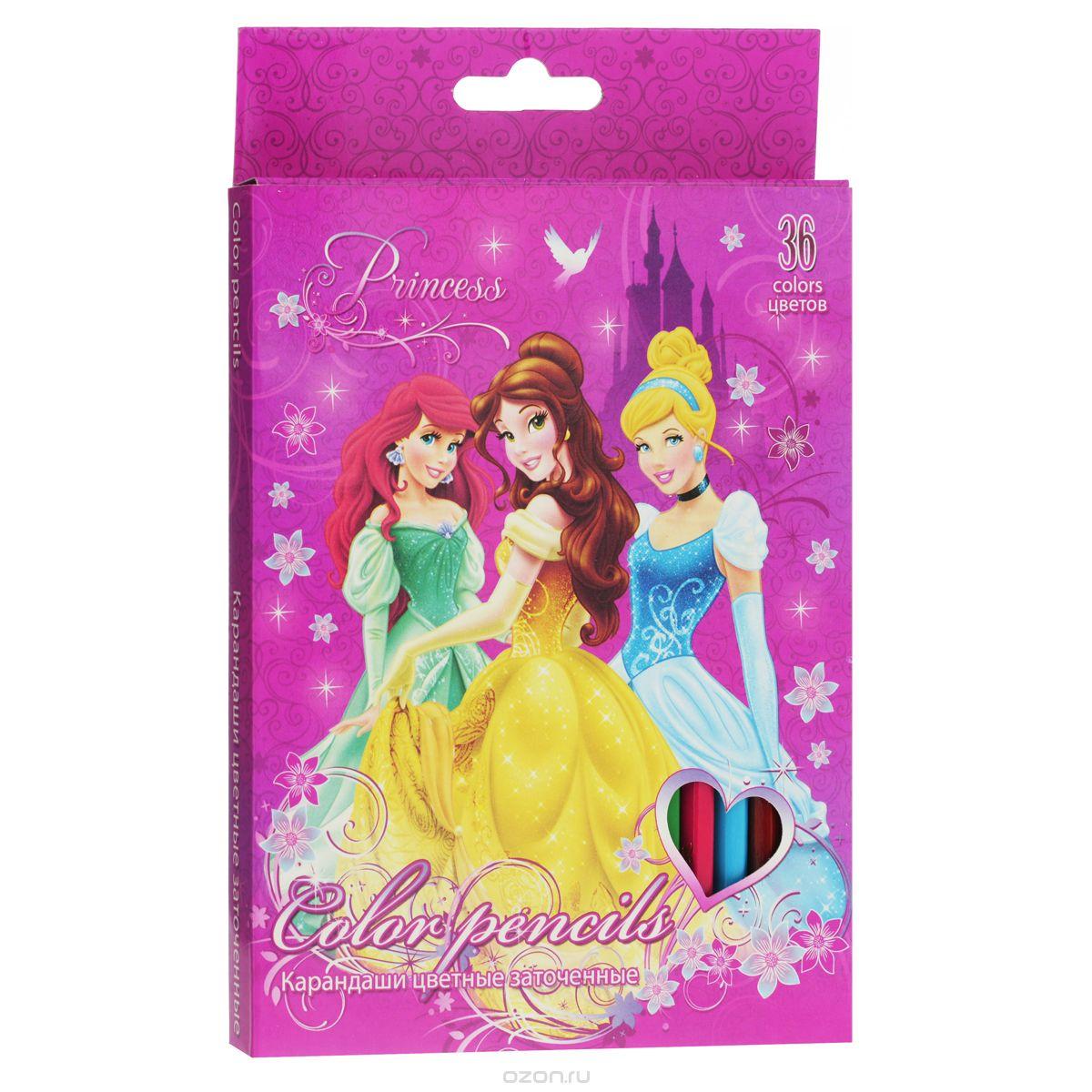 Набор цветных карандашей, 36 шт. Цветные карандаши длиной 17,8 см; заточенные; дерево - липа; цветной грифель 2,65 мм; PrincessPRAB-US1-1P-36Канцелярский набор Disney Princess станет незаменимым атрибутом в учебе любого школьника.