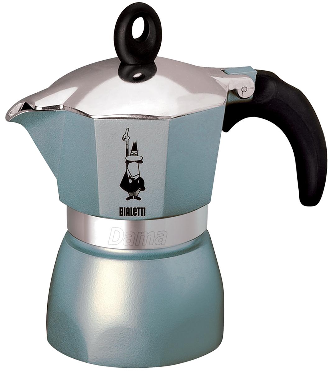 Кофеварка гейзерная Bialetti Dama Glamour, цвет: голубой, 3 порции4302Гейзерная кофеварка Bialetti Dama Glamour с современным ярким дизайном создана для тех, кто любит творческие кофе-брейки с интригующим и манящим ароматом. Изделие выполнено из алюминия, снабжено удобной ненагревающейся ручкой с прорезиненным покрытием. В гейзерной кофеварке кофе готовится за счет давления пара. Изделие имеет две емкости: верхнюю - для готового кофе, и нижнюю - для воды. На нижнюю емкость установлен фильтр в форме воронки. При нагревании часть воды в нижней емкости превращается в пар. Со временем его давление растет, и постепенно пар начинает выдавливать кипящую воду вверх. Вода проталкивается через молотый кофе, и полученный напиток выплескивается в верхнюю емкость. Когда вся жидкость из нижней емкости переместится в верхнюю, кофе готов. По принципу действия кофеварка напоминает гейзер, от чего и получила свое название. Предназначена для приготовления кофе на электрических и газовых плитах, а также других нагревающих поверхностях,...