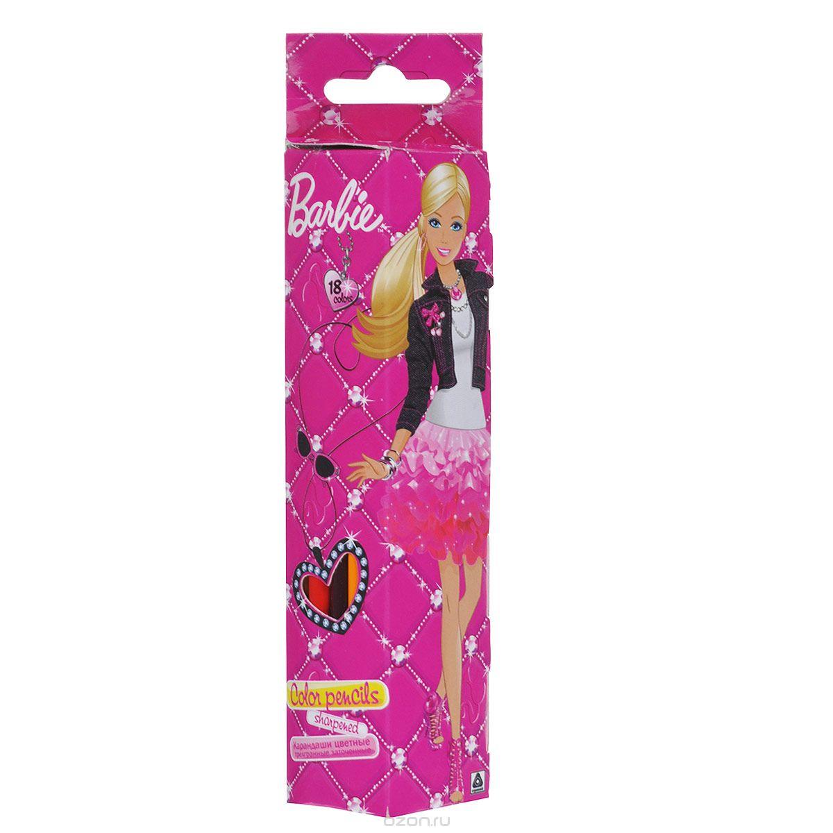 Набор цветных карандашей (треугольные), 18 шт. Цветные карандаши длиной 17,8 см; заточенные; дерево - липа; цветной грифель 2,65 мм; BarbieBRAB-US1-3P-18Качественные карандаши для маленьких принцес.