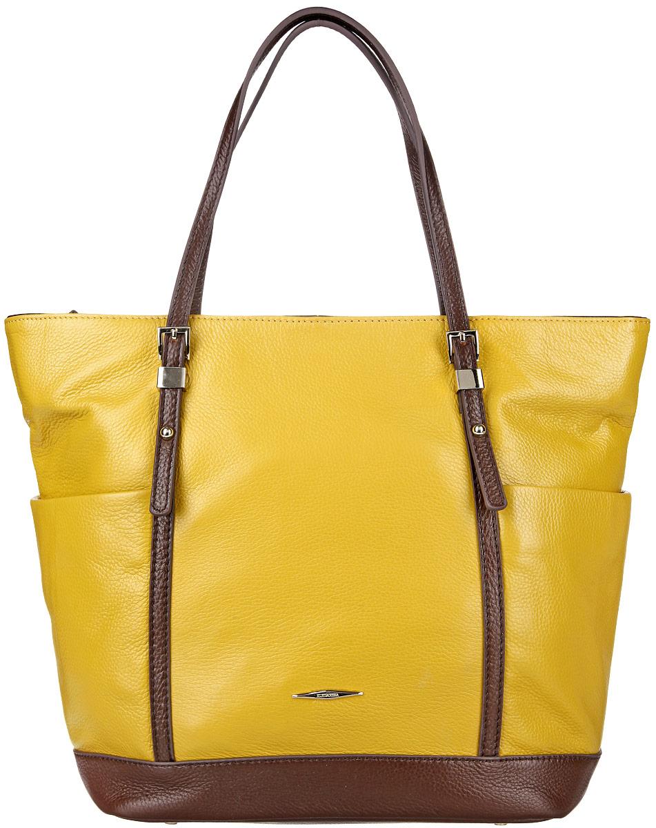 Сумка женская Eleganzza, цвет: желтый. Z28A-2322-RZ28A-2322-RСтильная сумка Eleganzza изготовлена из натуральной кожи с зернистой фактурой, оформлена металлической фурнитурой с символикой бренда. Изделие содержит одно основное отделение, закрывающееся застежку-молнию. Внутри расположены два накладных кармашка для мелочей, врезной карман на молнии и карман-средник на молнии. Задняя сторона сумки дополнена врезным карманом на молнии. По бокам сумка дополнена двумя накладными карманами. Изделие оснащено двумя практичными ручками, которые оформлены металлической фурнитурой. Дно изделия дополнено металлическими ножками. Оригинальный аксессуар позволит вам завершить образ и быть неотразимой.