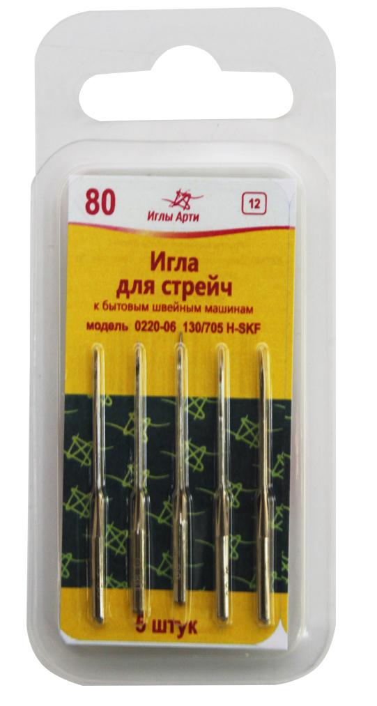 Иглы для швейных машин Арт, № 80, стрейч , уп.5шт. 162379162379