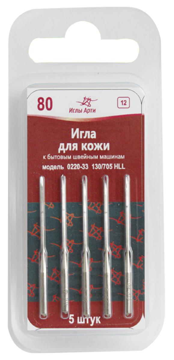 Иглы для швейных машин Арт, № 80 для кожи, уп. 5шт. 679075679075
