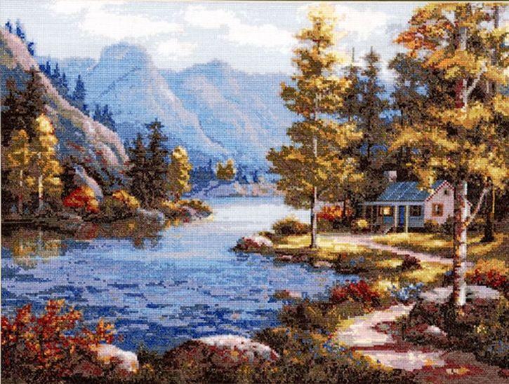 Набор для вышивания Hobby&Pro Пейзаж у реки 42 x 32 см581450