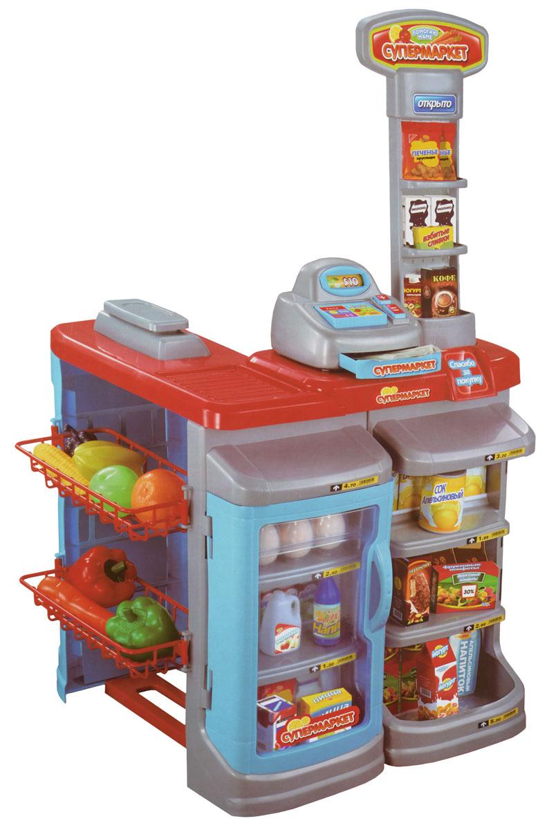 ABtoys Игровой набор СупермаркетPT-00274Игровой набор ABtoys Супермаркет выполнен из высококачественной и безопасной пластмассы. Он обязательно понравится вашей малышке. Супермаркет состоит из стойки с кассовым аппаратом и имеет полочки для размещения продуктов, игрушечных денег, корзины для продуктов и муляжей продуктов. Также на прилавке расположен холодильник для хранения продуктов, игрушечные фрукты и овощи, а также электронные весы, которые расположены возле стойки. Набор отлично подходит для сюжетно-ролевых игр детей, ведь все дети любят ходить в магазин, теперь он может появиться у них, прямо дома.
