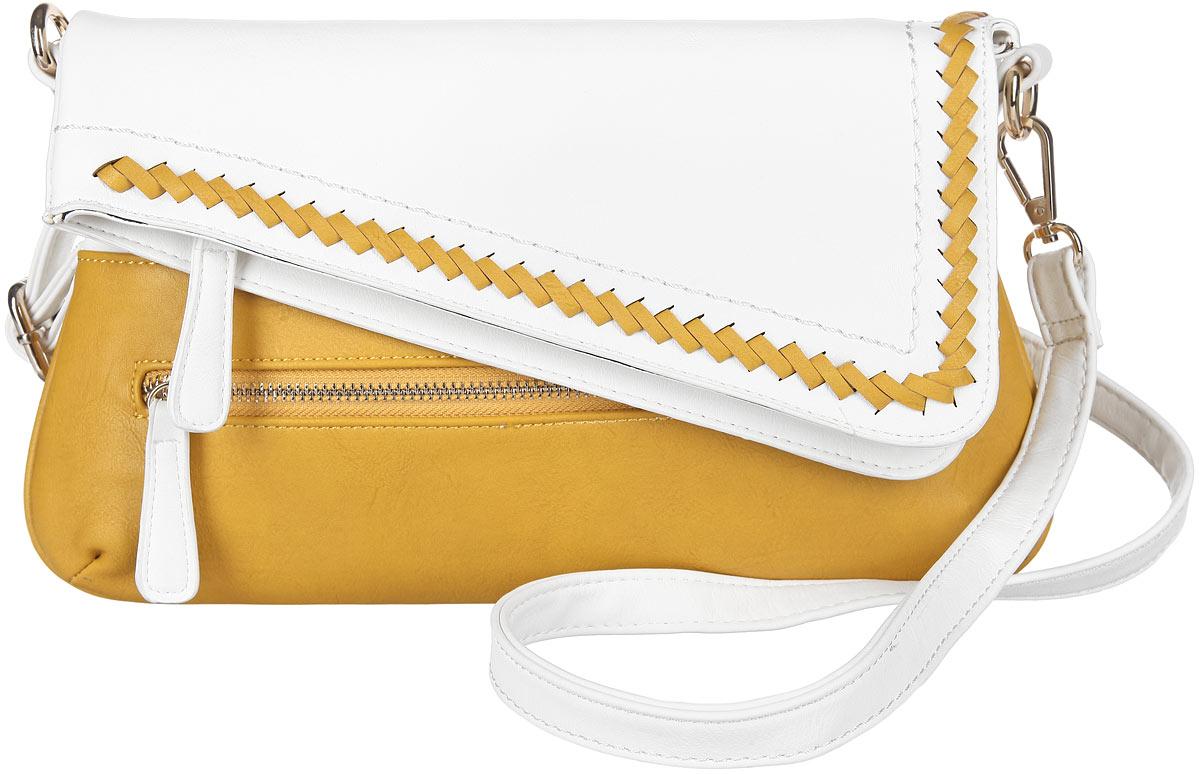 Сумка женская Orsa Oro, цвет: белый, желтый. D-840/93D-840/93Стильная женская сумка Orsa Oro выполнена из искусственной кожи, оформлена металлической фурнитурой. Кант клапана дополнен контрастным плетением из кожаной ленты. Изделие содержит одно основное отделение, которое закрывается на застежку-молнию и дополнительно на клапан с магнитной кнопкой. Внутри расположен накладной кармашек для телефона и врезной карман на молнии. Лицевая сторона изделия дополнена врезным карманом на молнии. Сумка оснащена съемным плечевым ремнем регулируемой длины. Оригинальный аксессуар позволит вам завершить образ и быть неотразимой.