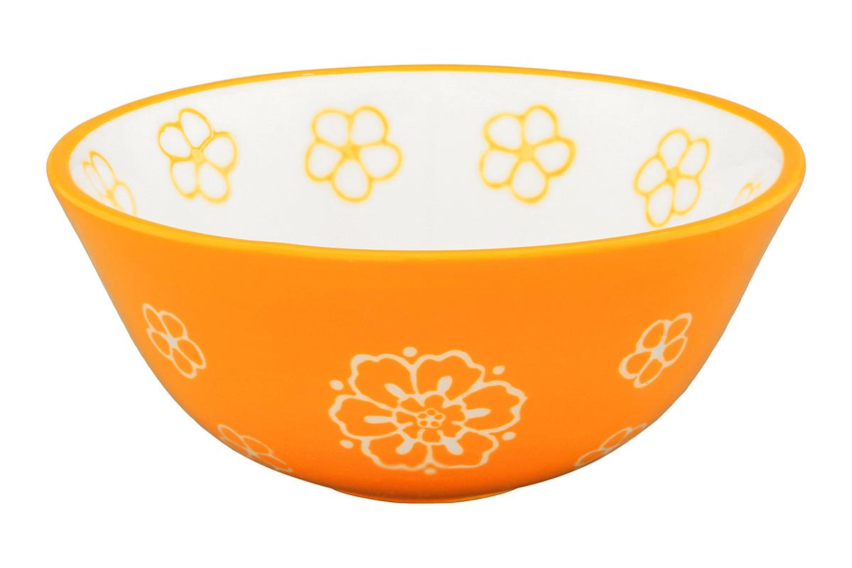 Салатник Elan Gallery Цветочное поле, цвет: белый, оранжевый, 280 мл830186Великолепный круглый салатник Elan Gallery Цветочное поле, изготовленный из высококачественной керамики, прекрасно подойдет для подачи различных блюд: закусок, салатов или фруктов. Такой салатник украсит ваш праздничный или обеденный стол, а оригинальное исполнение понравится любой хозяйке. Не рекомендуется применять абразивные моющие средства. Не использовать в микроволновой печи. Диаметр салатника (по верхнему краю): 12,5 см.