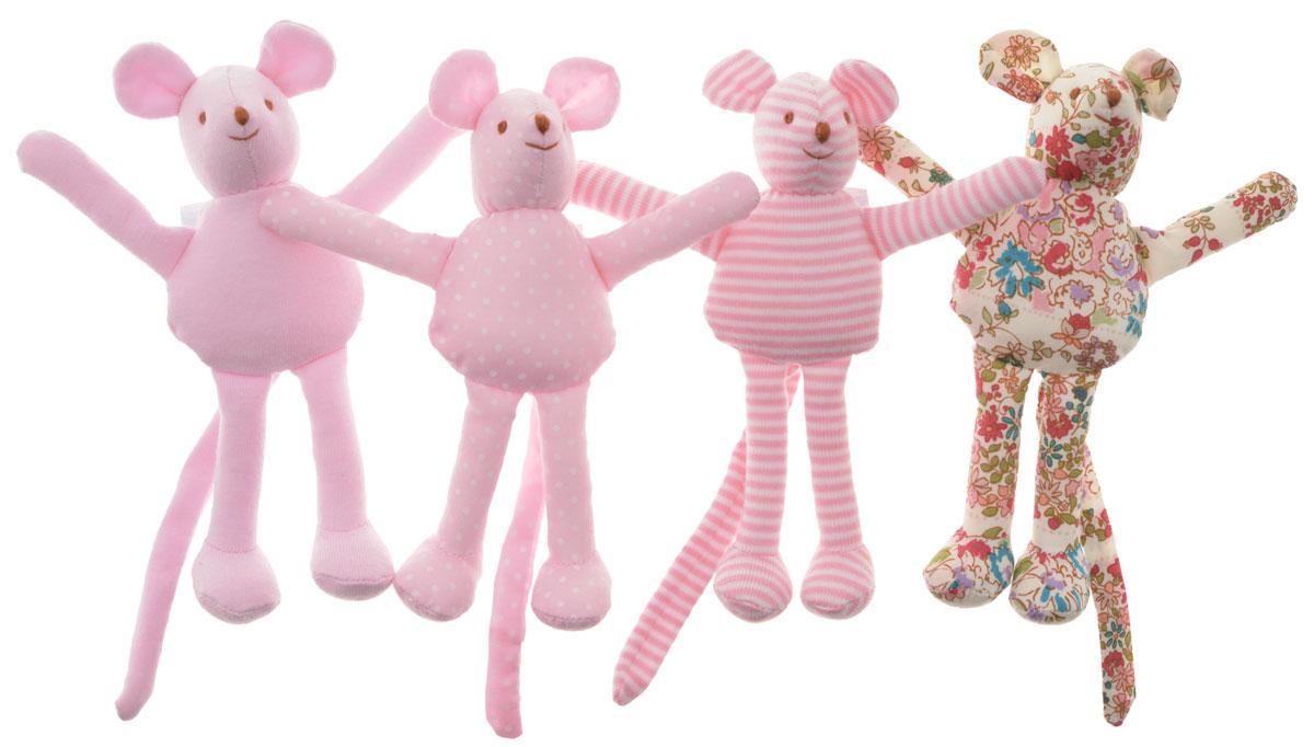 Trousselier Мягкая игрушка-погремушка Мышка цвет розовый 12 см 4 шт