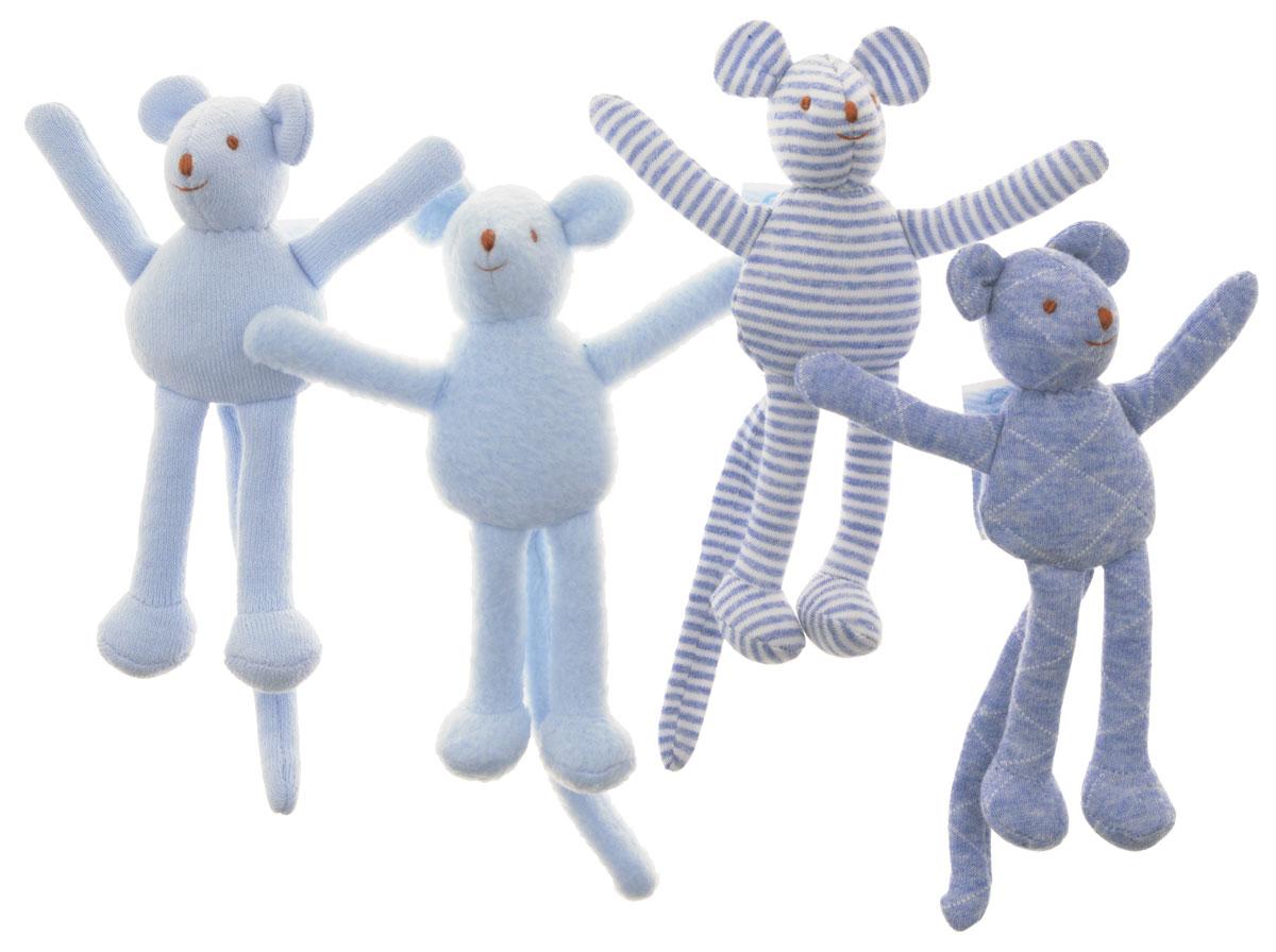 Trousselier Мягкая игрушка-погремушка Мышка цвет голубой 12 см 4 шт