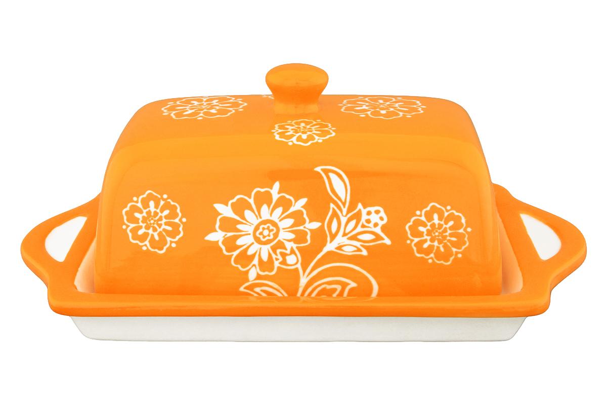 Масленка Elan Gallery Цветочное поле, цвет: оранжевый, белый830036Великолепная масленка Elan Gallery Цветочное поле, выполненная из высококачественной керамики, предназначена для красивой сервировки и хранения масла. Она состоит из подноса и крышки. Масло в ней долго остается свежим, а при хранении в холодильнике не впитывает посторонние запахи. Масленка Elan Gallery Цветочное поле идеально подойдет для сервировки стола и станет отличным подарком к любому празднику. Не рекомендуется применять абразивные моющие средства. Не использовать в микроволной печи. Размер подноса: 19,5 х 11,5 х 2 см. Размер крышки: 13,5 х 8 х 7,5 см.