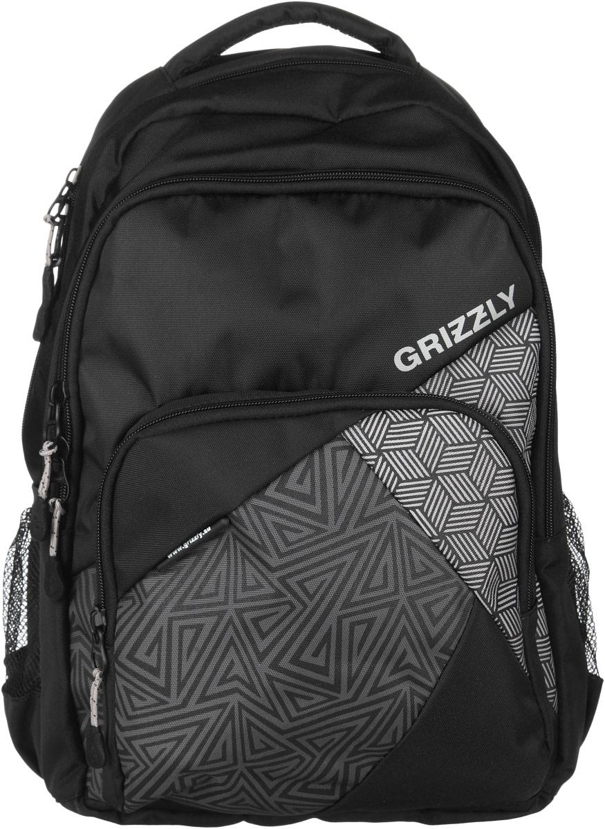 Рюкзак мужской Grizzly, цвет: серый, черный, 28 л. RU-607-1/3RU-607-1-3Стильный мужской рюкзак Grizzly выполнен из полиэстера, оформлен изображением с символикой бренда. Рюкзак содержит два вместительных отделения, каждое из которых закрывается на молнию. Внутри первого отделения расположен нашивной карман на молнии. Внутри второго отделения размещен встроенный органайзер, состоящий из накладного кармашка, сетчатого кармана на молнии и секции для ручки. Снаружи, по бокам изделия, расположены два сетчатых кармана. Лицевая сторона дополнена вместительным карманом на застежке-молнии. Рюкзак оснащен петлей для подвешивания и двумя практичными лямками регулируемой длины, а также нагрудным ремнем. Практичный рюкзак станет незаменимым аксессуаром и вместит в себя все необходимое.
