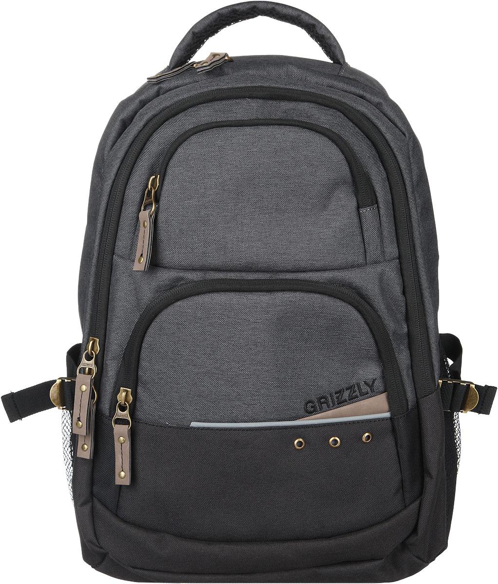 Рюкзак мужской Grizzly, цвет: серый, 29 л. RU-612-1/3RU-612-1/3Стильный мужской рюкзак Grizzly выполнен из полиэстера, оформлен вышивкой с изображением логотипа бренда. Рюкзак содержит два вместительных отделения, каждое из которых закрывается на молнию. Внутри первого отделения расположен нашивной карман на молнии. Снаружи, по бокам изделия, расположены два сетчатых кармана. Лицевая сторона дополнена двумя вместительными карманами, каждый из которых закрывается на молнию. Больший карман оснащен органайзером, состоящим из двух накладных кармашков и двух секций для ручек. Рюкзак оснащен петлей для подвешивания, двумя практичными лямками регулируемой длины, а также нагрудным ремнем. Практичный рюкзак станет незаменимым аксессуаром и вместит в себя все необходимое.
