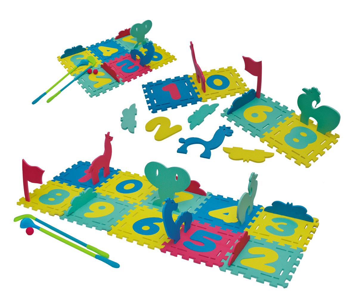 Мозаичный парк Пазл для малышей Гольф15130Комплект «Мини-гольф» Комплект «Мини-гольф» состоит из десяти полей, соединяющихся между собой, пяти ворот в форме животных (для прокатывания мячика) и двенадцати элементов ограждений. В набор входят также легкие мячики (2 шт.), флажок-знак финиша и две биты. Игровые поля имеют вырубленные цифры, удобно соединяются между собой. Поверхность ровная, не препятствует движению мячика. Прорези по периметру для установки ворот и ограничительных стенок удобно и прочно удерживаются в пазах. Ключевое развивающее значение игры заключается в развитии моторной ловкости, координации и соразмерности движений, умении учитывать пространственно-предметные условия и действовать согласно тем или иным правилам.