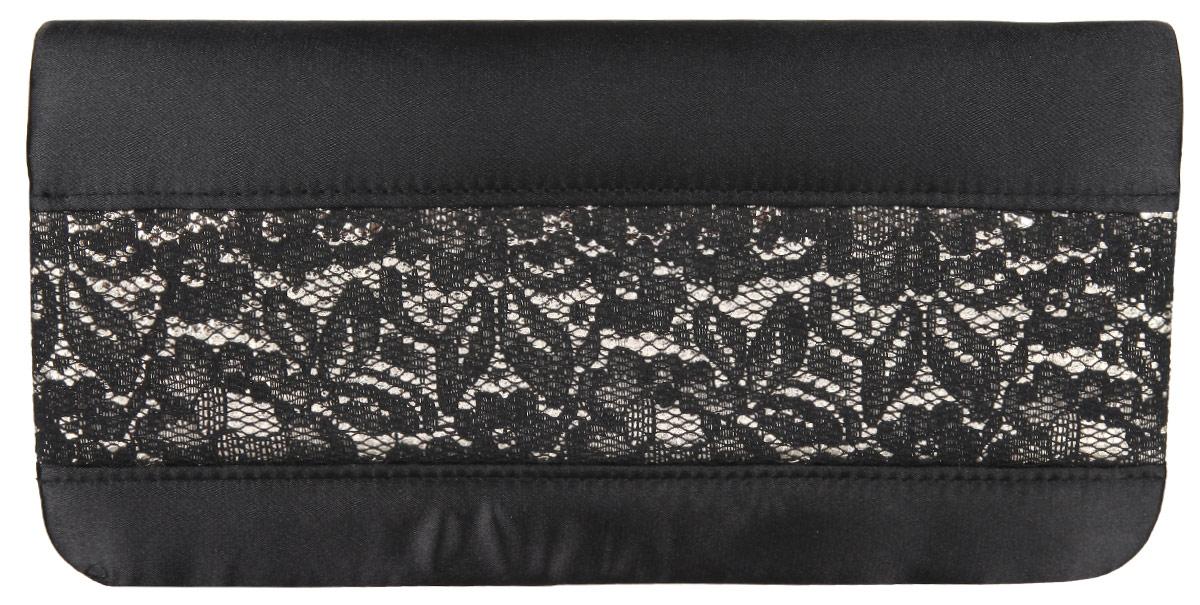 Клатч Eleganzza, цвет: черный. ZZ-16222-1ZZ-16222-1Элегантный клатч Eleganzza изготовлен из текстиля, оформлен кружевом. Изделие содержит одно отделение, которое закрывается клапаном на магнитную кнопку. Внутри расположен накладной кармашек для мелочей. Изделие оснащено практичным плечевым ремнем-цепочкой. Оригинальный аксессуар позволит вам завершить образ и быть неотразимой.