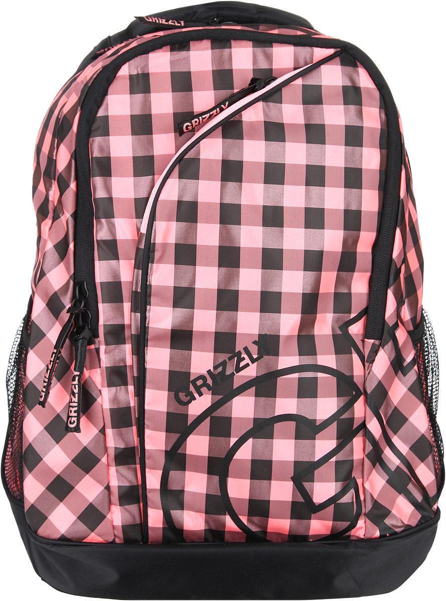 Рюкзак женский Grizzly, цвет: черный, розовый, 28 л. RD-640-2/1RD-640-2/1Стильный женский рюкзак Grizzly выполнен из полиэстера, оформлен клетчатым принтом и с символикой бренда. Рюкзак содержит два вместительных отделения, каждое из которых закрывается на молнию. Внутри первого отделения расположен накладной карман на молнии. Второе отделение дополнено органайзером, состоящим из двух накладных кармашков, врезным карманом на молнии и двух секций для ручек. Снаружи, по бокам изделия, расположены два сетчатых кармана. Лицевая сторона дополнена врезным карманом на молнии. Рюкзак оснащен петлей для подвешивания, двумя практичными лямками регулируемой длины. Практичный рюкзак станет незаменимым аксессуаром и вместит в себя все необходимое.