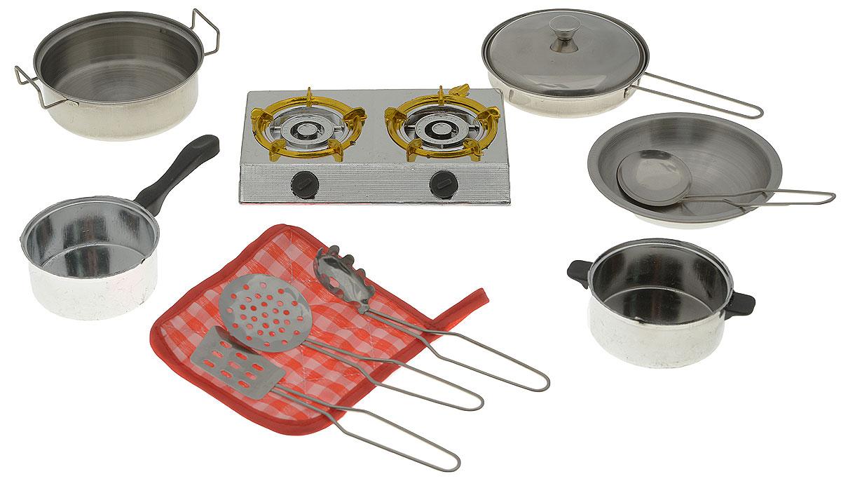 ABtoys Игрушечный кухонный набор 11 предметовPT-00265(WK-B0954)Набор кухонный ABtoys предлагает ребенку ощутить себя хозяином на кухне. Все элементы выполнены из металла и пластика и напоминают настоящую посуду. Кастрюлю, шумовку, сковороду - все предметы можно использовать для приготовления пищи и подачи угощения на стол. Можно чередовать использование предметов для создания сложных блюд, например, супа или плова. Красочная прихватка придаст уют. С таким набором ребенок поймет, что готовка - интересное занятие, которое, в то же время, требует определенных навыков.